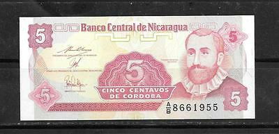 NICARAGUA #168a UNCIRCULATED OLD 1991 5 CENTAVO BANKNOTE BILL NOTE PAPER MONEY