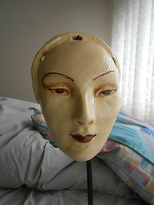 vintage AUSTRALIAN POTTERY...ART DECO FEMALE MASK...SIGNED MARGUERITE MAHOOD