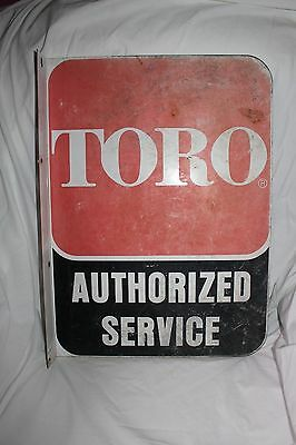 Vintage Toro Authorized Service Outdoor Equipment Double Sided Flange Metal Sign
