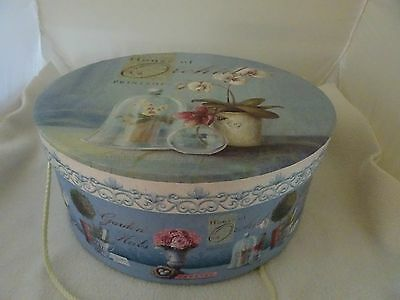 House Of Orchids Blue/white Chic Hat Box-Lkn-Storage/hats/stationary-Dresser Top