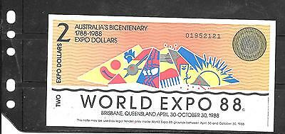 Australia Expo 1988 Au-Unc $2 Dollar  Banknote Paper Money Currency Bill Note