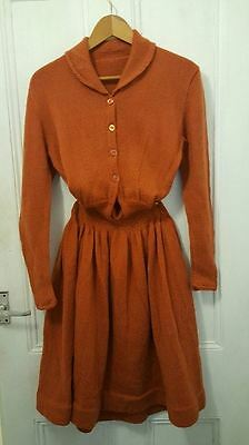 Vintage original 1950's hand knitted cinnamon skater Dress S