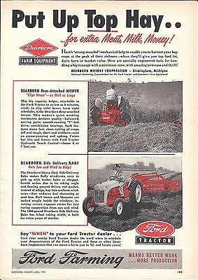 1952 Ford Tractor Dearborn Farm Equipment Ad Put Up Top Hay