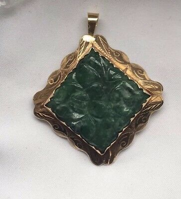 Big Craved Genuine Chinese Green Jade 18k Gold Pendant/brooch-11.01g