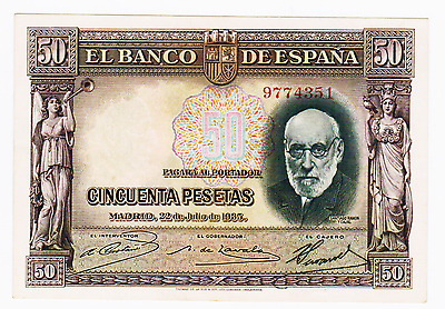 1935  - 50 Pesetas Bank Of Spain  # 88 - About Uncirculated