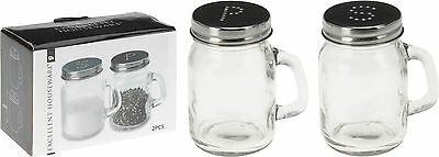 Glass & Chrome Salt and Pepper Set Condiment Set Cruet Set Salt Pepper Pot