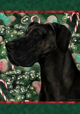 Large Indoor/Outdoor Holiday Flag - Uncropped Black Great Dane 14154