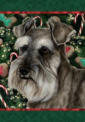 Large Indoor/Outdoor Holiday Flag - Uncropped Grey Schnauzer 14140
