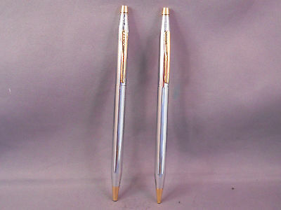 Cross Chrome and Gold  Ball Pen and Pencil Set---NEW--Medalist