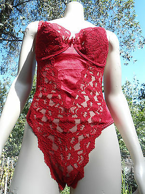 Victoria's Secret Women's Red Nylon Lace Push Up Underwire Bra Thong Teddie 36D