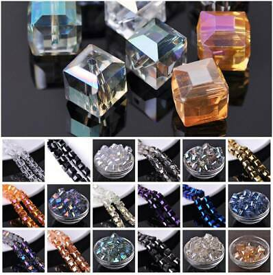 5pcs 14mm Faceted Big Cube Square Crystal Glass DIY Charms Loose Spacer Beads