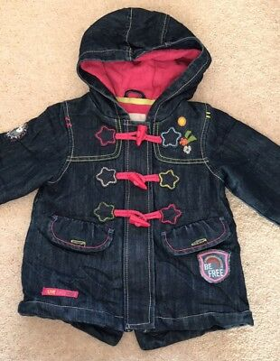 Next girls Denim /fleece Lined Coat 12-18 Months Excellent Condition