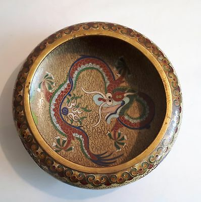 Antique c1900 Japanese Cloisonne Enamel Bowl. Shippo-Yaki/ Ando. Dragon. A/F