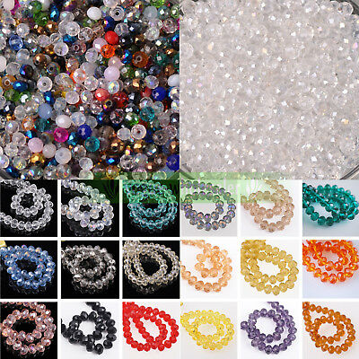 Wholesale 6x4mm 50pcs Charm Rondelle Faceted Clear Crystal Glass Loose Beads