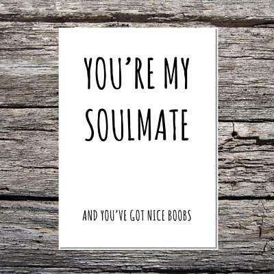 funny love card birthday/anniversary wife/girlfriend you're soulmate nice boobs