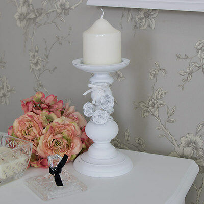 White rose candlestick candle stand shabby vintage chic wedding lighting home