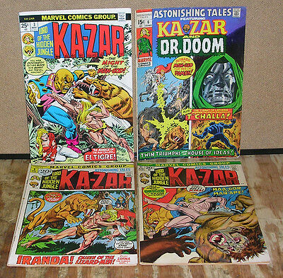 Astonishing Tales-Four Ka Zar Marvel Comic Books-Dr. Doom-Barry Windsor Smith