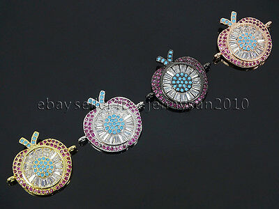 Clear Zircon Gemstones Pave Apple Bracelet Connector Charm Beads Gold Silver
