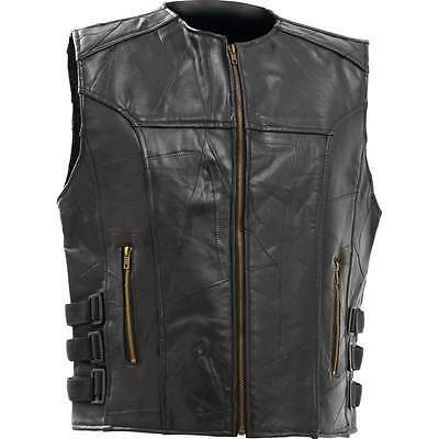 Leather Vest MOTORCYCLE MEN'S BLACK Diamond Plate Genuine Buffalo LARGE or 4XL