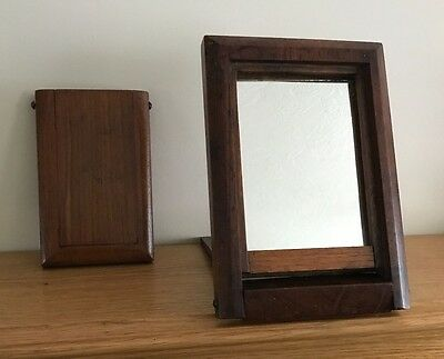 Antique folding mirror and photo frame probably campaign ware solid wood
