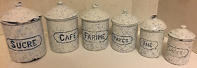 Vintage Set of 6 French Blue & White Chickenwire Enamelware Nesting Canisters
