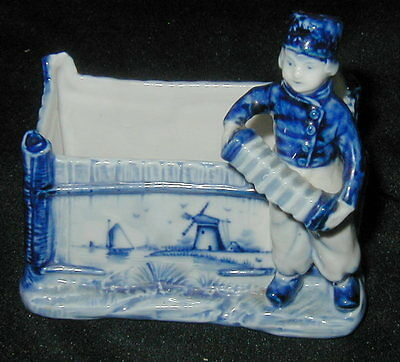 OLD HAND PAINTED DELFT PORCELAIN CACHE POT, PLANTER w BOY FIGURINE, WINDMILL