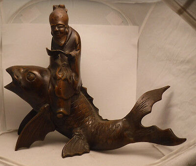 Vintage Old Japanese Bronze Figurine Man Sitting On Koi Fish Figural