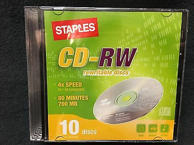 CD-RW Rewritable Discs 80 min-700 MB - 10 Discs - New in Package
