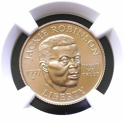 1997-W $5 Gold Jackie Robinson NGC MS70 Certified