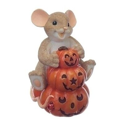 Charming Tails Stack of Jack O Lanterns Mouse Halloween Figurine 130453 New