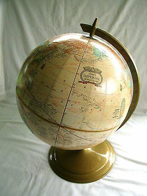 """Cram's Imperial 12 Inch World Globe - 9"""" Metal Base - Excellent Condition!"""