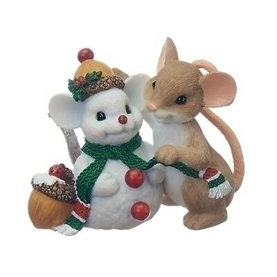 Charming Tails Mouse with Snowman Friend Christmas Figurine Decoration 130444