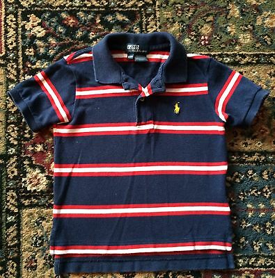 EUC Ralph Lauren Toddler Boys Striped POLO SHIRT Top Cotton Mesh Size 2/2T