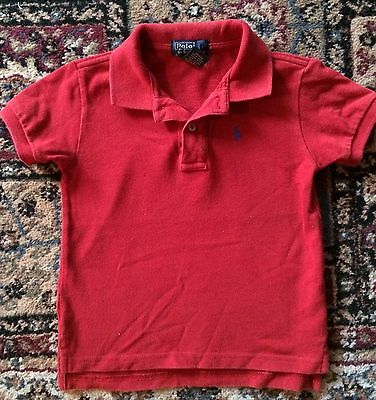 Ralph Lauren Baby Boys Red POLO SHIRT Top Cotton Mesh Size 24M - 24 Months