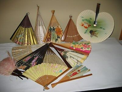 Vintage Early 1900S Handpainted Floral Celluloid Ladies Folding Hand Fan