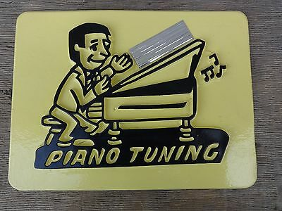 Vintage Piano Tuning Vacuform Sign with Magnetic Strips on Back Excellent NR