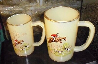 Two Vintage Opaque Covered Glass Huntiing Scene Tankards  Pint & Half Pint Size