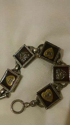 Classic Hardware brand link bracelet shadow box goth steampunk silver gold red