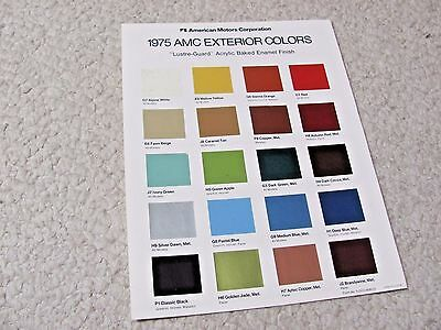 1975 Amc Exterior Colour Chart Brochure