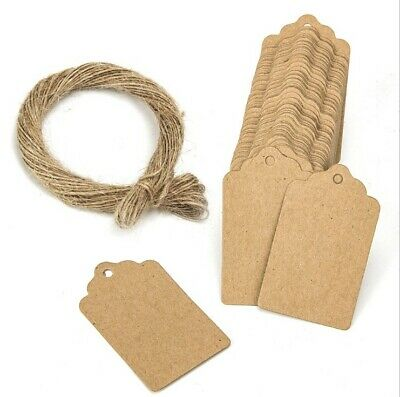100 X Blank Kraft Jewelry Price Label String Price Tags Swing Craft With String
