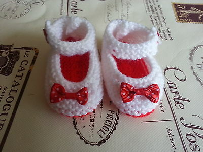 Hand Knitted White with Red sole  Baby Shoes 0-3 , 3-6 or Reborn