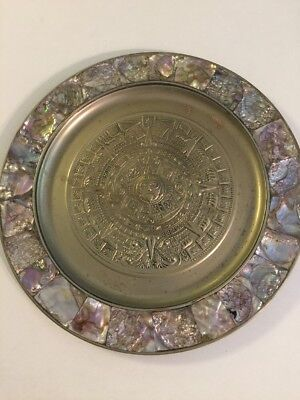 Vintage Alpaca Aztec Calendar Plate Abalone Accents Silver Plate Mexico 11""