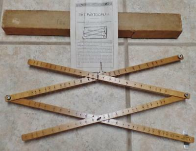 Antique Keuffel Esser K&e Pantograph 1148 Wood Mechanical Drafting Tool Org/box