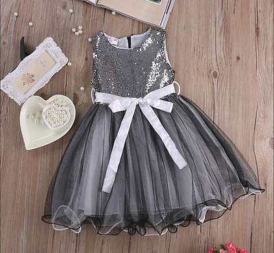 Belle Robe Ete Grise Style Princesse Bapteme Mariage Fille Taille 6 Ans