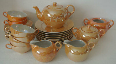 29pc Vintage LOT Japan ORANGE Luster Lustre Iridescent Teapot Plate Teacup Set