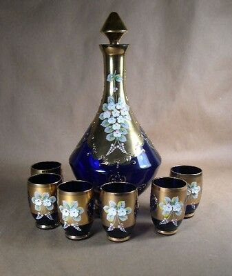NICE 7 –Pc. Cobalt Blue and Gold Floral Decanter Set  Mid 20th century