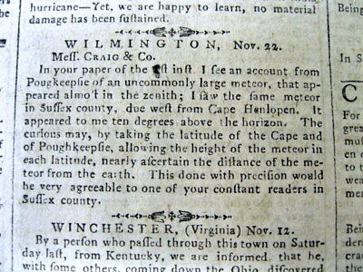 1788 newspaper Early report UFO Flying Saucers spotted over DELAWARE & NEW YORK