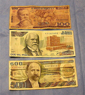 Mexico~~Lot of 3 Vintage Currency Notes---Circulated Condition