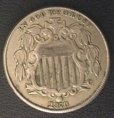 1870 Shield Nickel  AU Cracked Die Obverse