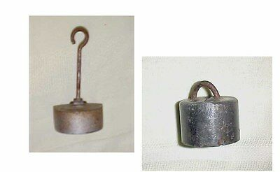 ANTIQUE SCALE HANGING WEIGHTS 2pc HOOK 12Ooz  an other 1 1/2in   7oz USA